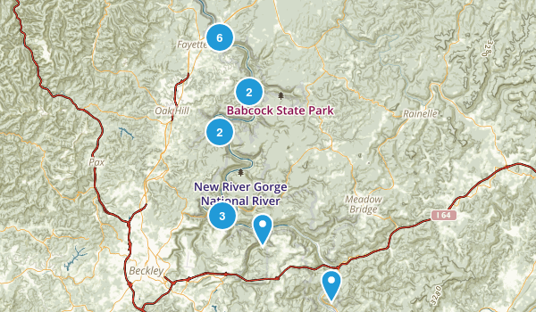 Best Trails In New River Gorge National River Photos - West virginia rivers map