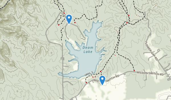 trail locations for Deam Lake State Recreation Area