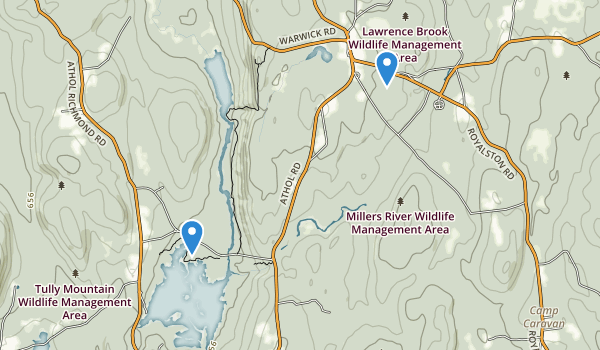trail locations for Millers River Wildlife Management Area