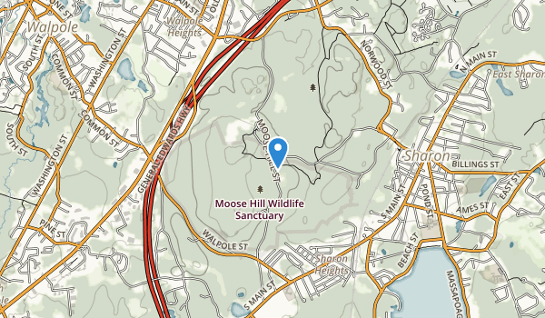 trail locations for Moose Hill Wildlife Sanctuary
