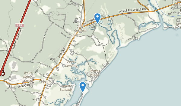 trail locations for The Wells National Estuarine Research Reserve