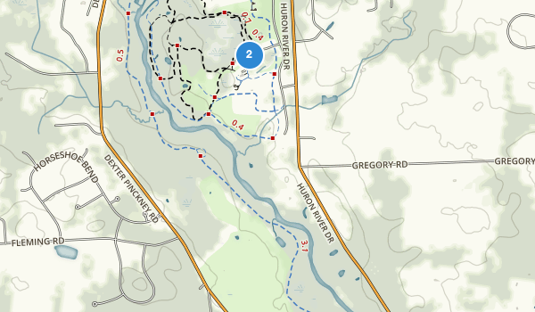 trail locations for Hudson Mills Metropolitan Park