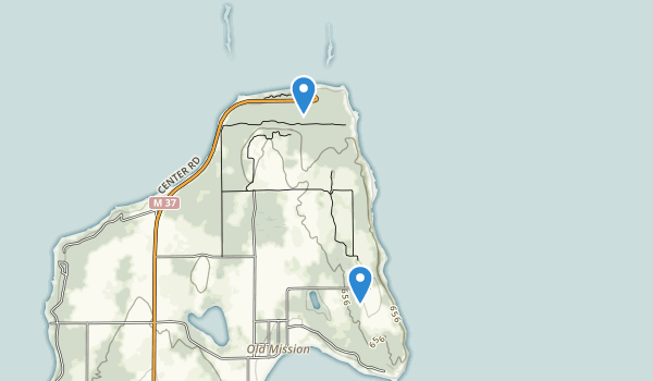 trail locations for Old Mission Lighthouse Park