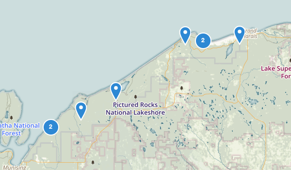 trail locations for Pictured Rocks National Lakeshore