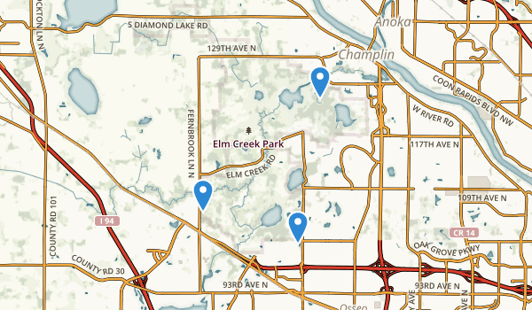 trail locations for Elm Creek Park
