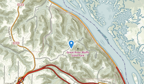 trail locations for Great River Bluffs Historical Marker