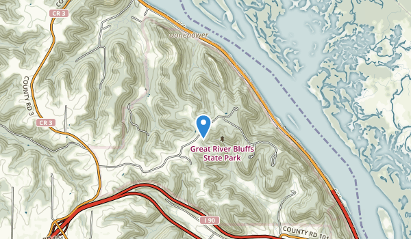 Great River Bluffs Historical Marker Map