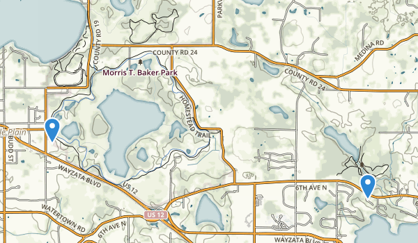 trail locations for Morris T Baker County Park