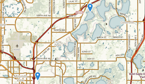 Rice Creek-Chain of Lakes County Regional Park Map