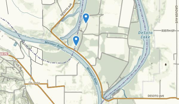 trail locations for De Soto National Wildlife Refuge