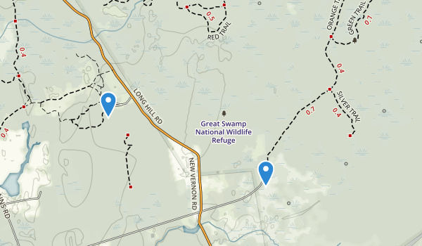 trail locations for Great Swamp National Wildlife Refuge