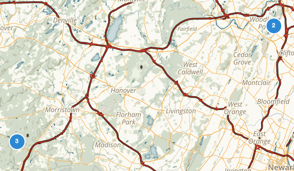 trail locations for Morristown National Historical Park