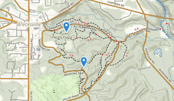 trail locations for Brecksville Reservation