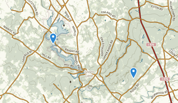 trail locations for Green Lane Reservoir Park
