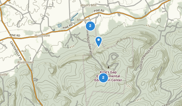 trail locations for Kings Gap State Park