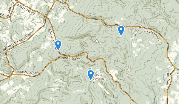 trail locations for Roaring Run Natural Area