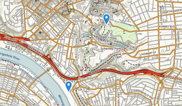 trail locations for Schenley Park