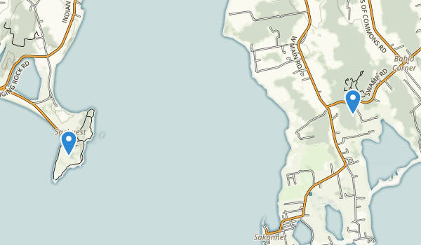 trail locations for Sachuest Point National Wildlife Refuge
