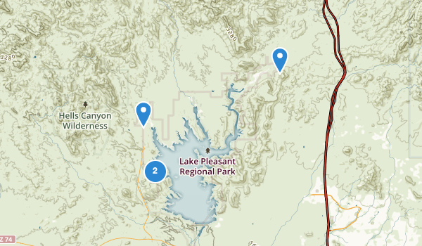 trail locations for Lake Pleasant Regional Park