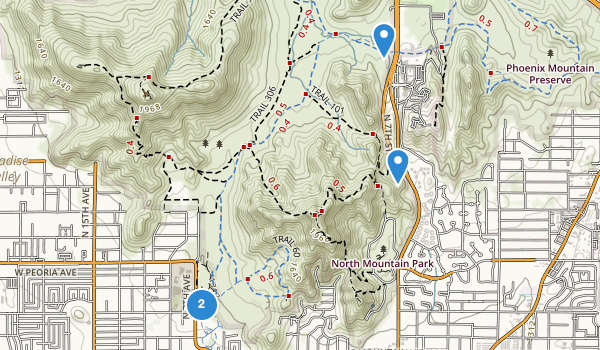 trail locations for North Mountain Park