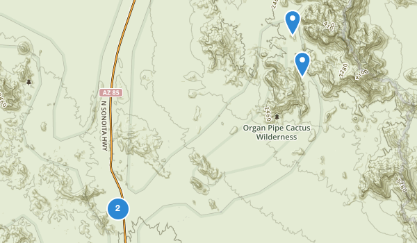 trail locations for Organ Pipe Cactus Family Picnic Ground