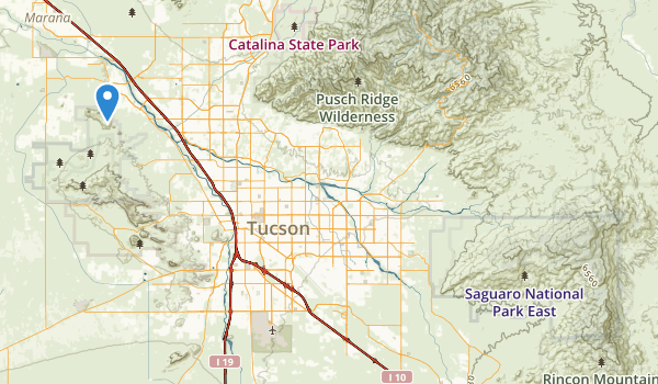 trail locations for Saguaro National Park East Unit (historical)