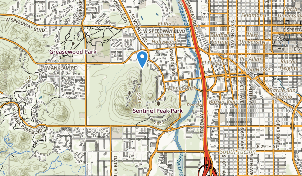 trail locations for Sentinel Peak Park