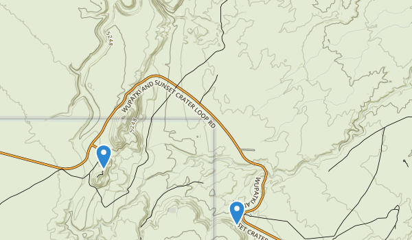 trail locations for Wupatki National Monument