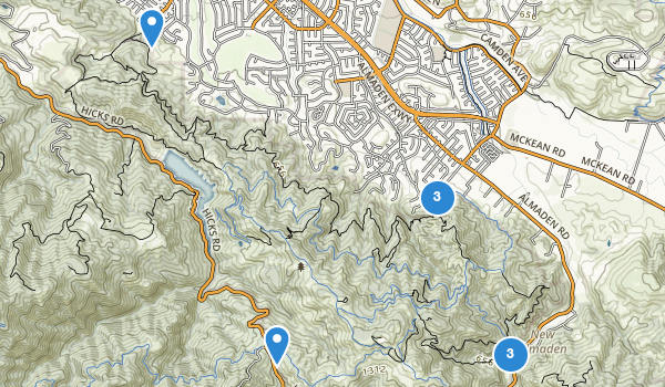 trail locations for Almaden Quicksilver County Park