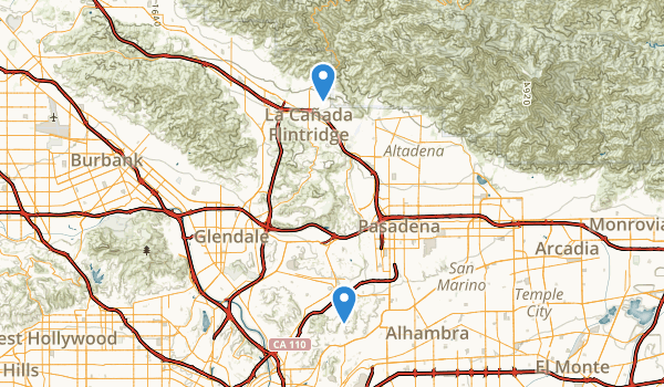 trail locations for Arroyo Seco Park