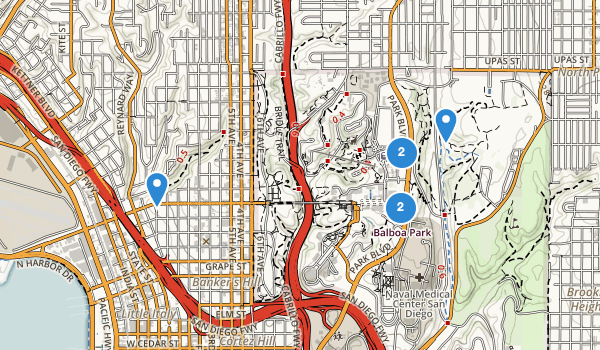 trail locations for Balboa Park