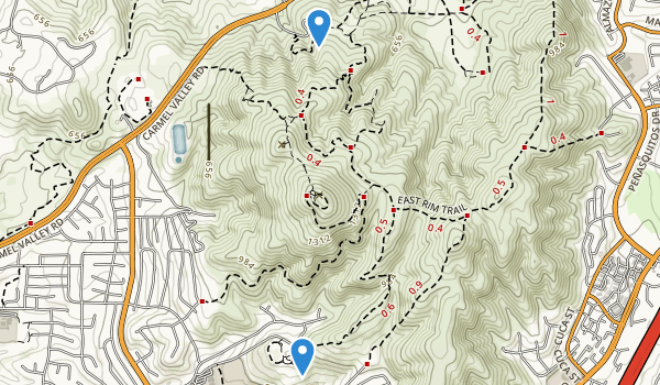 trail locations for Black Mountain Open Space