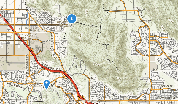 trail locations for Box Springs Mountain Regional Park
