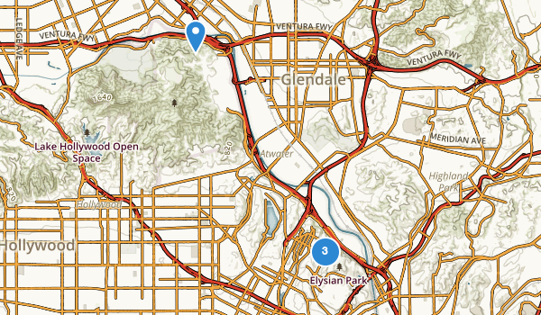 trail locations for Elysian Park