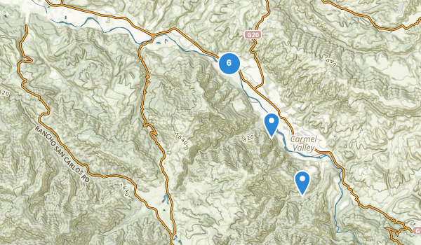trail locations for Garland Ranch Regional Park
