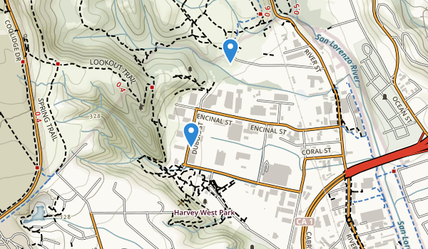 trail locations for Harvey West Park