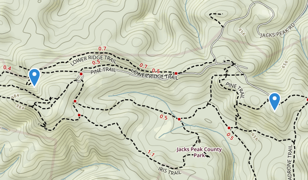 trail locations for Jacks Peak County Park