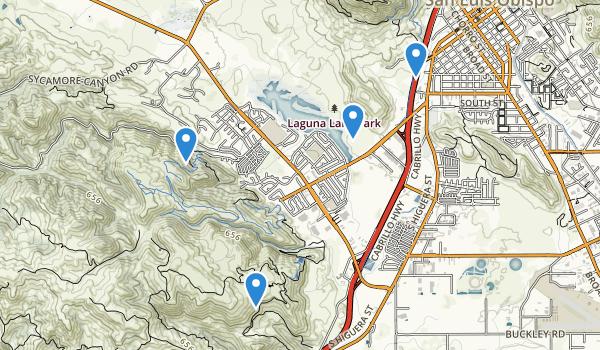 trail locations for Laguna Lake Park & Natural Reserve
