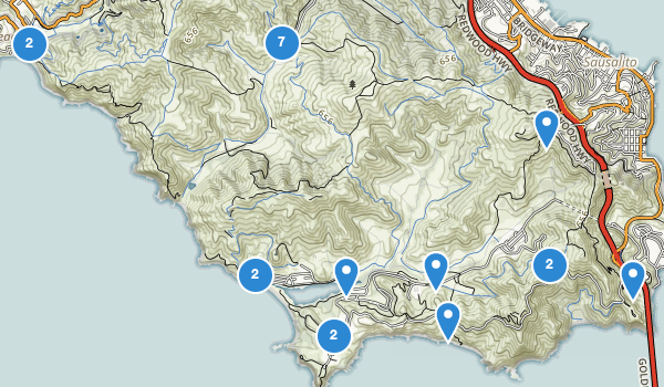trail locations for Marin Headlands State Park