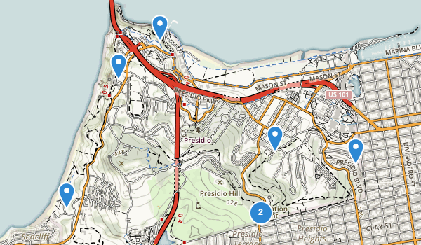 trail locations for Presidio of San Francisco