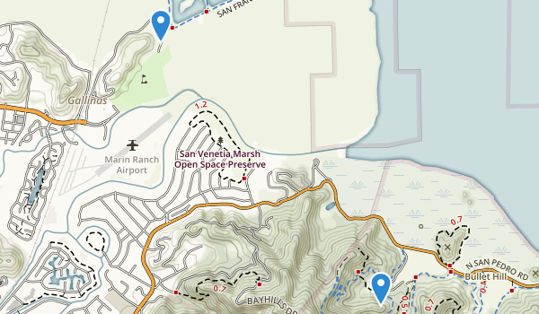 trail locations for Santa Venetia Marsh Preserve
