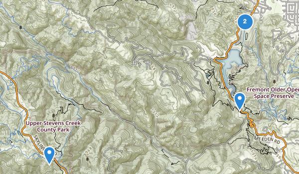 trail locations for Stevens Creek Park