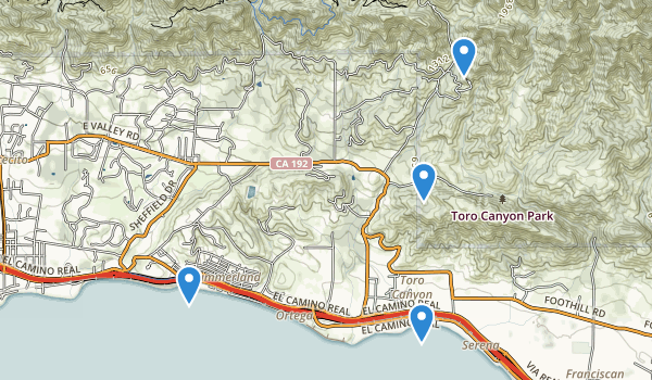 trail locations for Toro Canyon County Park