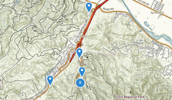 trail locations for Toro Regional Park
