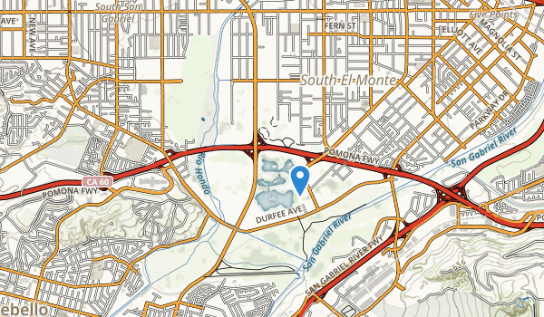 trail locations for Whittier Narrows Dam County Recreational Are