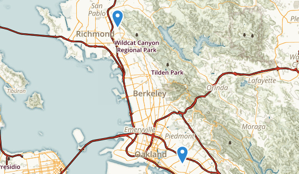 trail locations for Wildcat Canyon Regional Park
