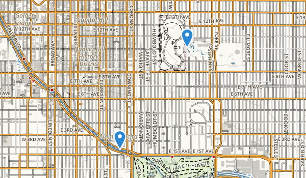 trail locations for Cheesman Park