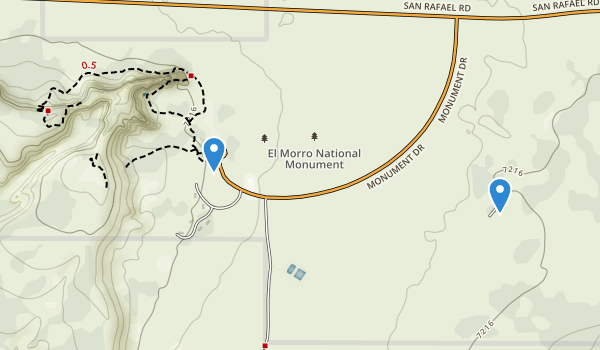 trail locations for El Morro National Monument
