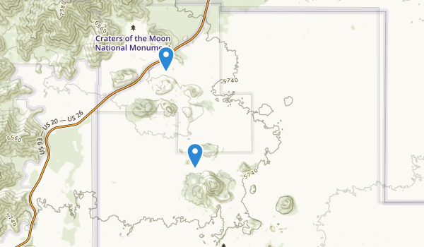 trail locations for Craters of the Moon National Monument