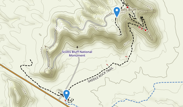 trail locations for Scotts Bluff National Monument